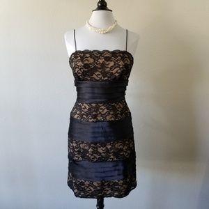 S.L. Fashions Black Lace & Nude Sheath Dress 12
